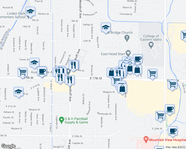 map of restaurants, bars, coffee shops, grocery stores, and more near 1665 Riviera Drive in Idaho Falls