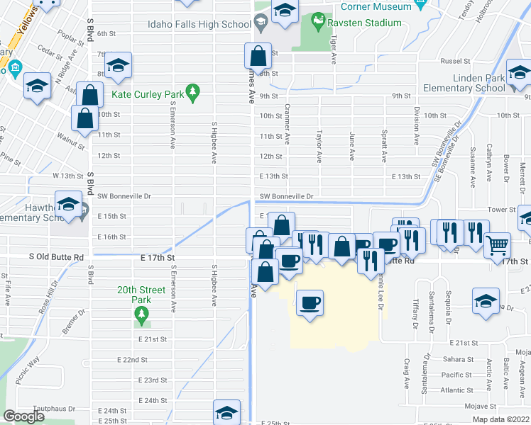 map of restaurants, bars, coffee shops, grocery stores, and more near 535