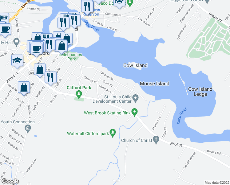 map of restaurants, bars, coffee shops, grocery stores, and more near 17 Simard Avenue in Biddeford