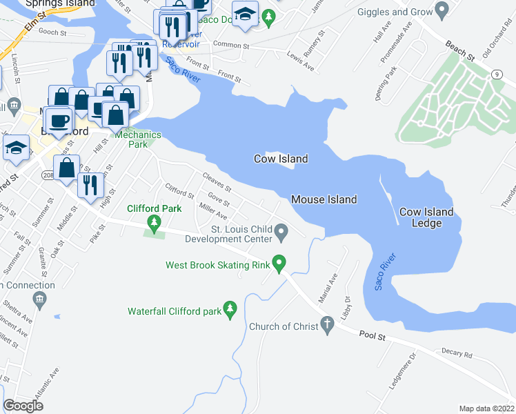 map of restaurants, bars, coffee shops, grocery stores, and more near Cleaves St & Riverside Ave in Biddeford