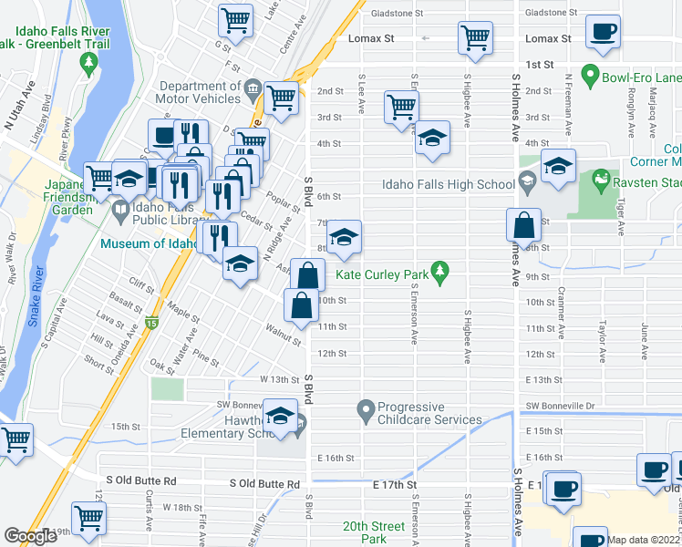 map of restaurants, bars, coffee shops, grocery stores, and more near 158 9th Street in Idaho Falls