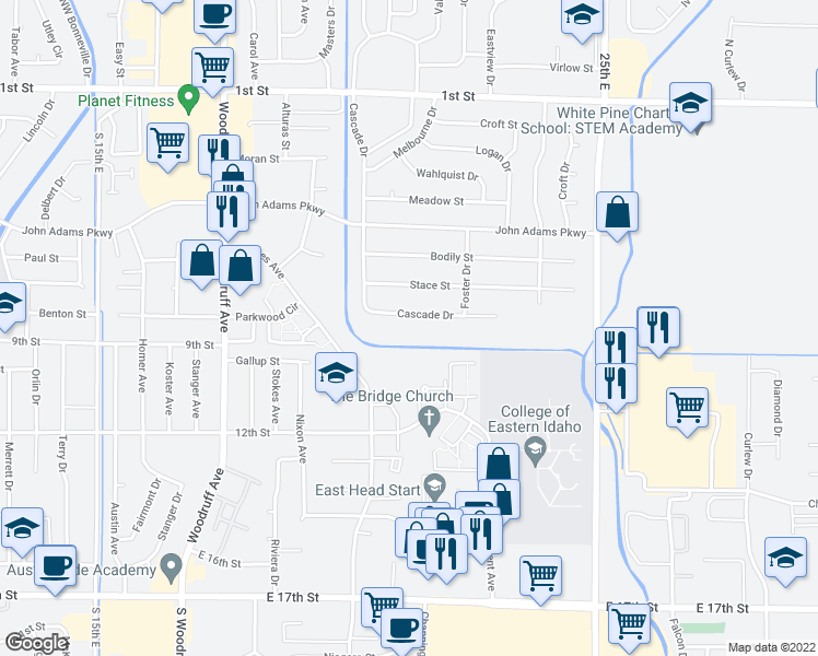 map of restaurants, bars, coffee shops, grocery stores, and more near 2104 Meppen Drive in Idaho Falls