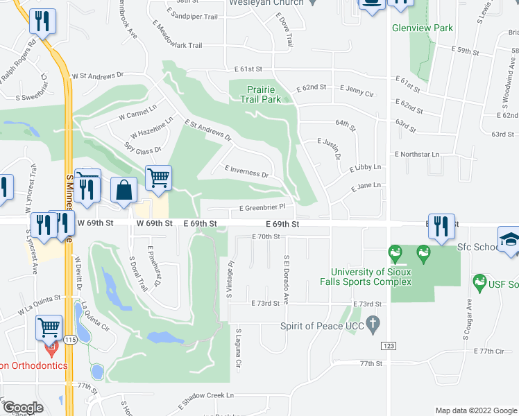 map of restaurants, bars, coffee shops, grocery stores, and more near East Greenbrier Place in Sioux Falls
