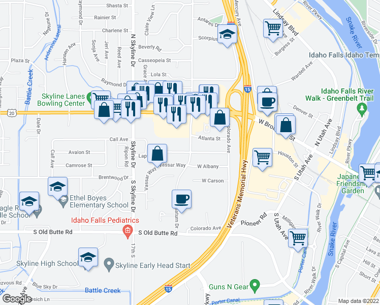 map of restaurants, bars, coffee shops, grocery stores, and more near 396 South Saturn Avenue in Idaho Falls