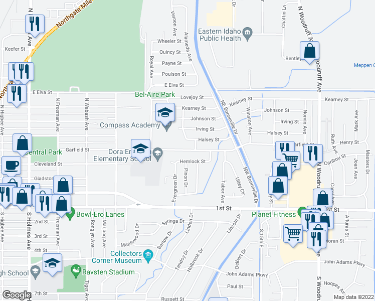 map of restaurants, bars, coffee shops, grocery stores, and more near 975 Hemlock Street in Idaho Falls