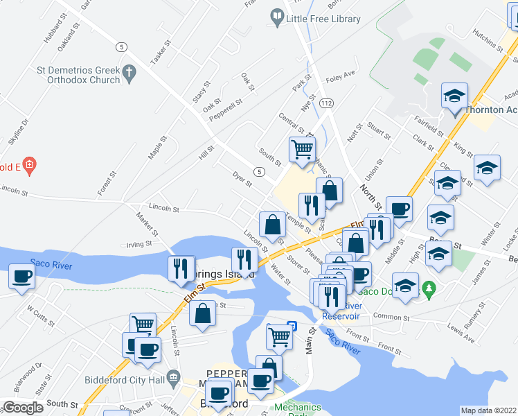 map of restaurants, bars, coffee shops, grocery stores, and more near Spring St & Pleasant St in Saco