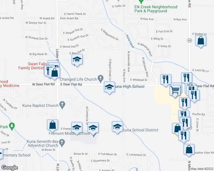 map of restaurants, bars, coffee shops, grocery stores, and more near 500 East Deer Flat Road in Kuna