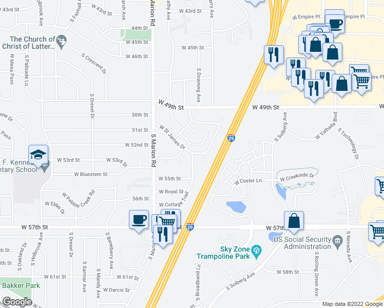 map of restaurants, bars, coffee shops, grocery stores, and more near 4905 West Cottage Trail in Sioux Falls