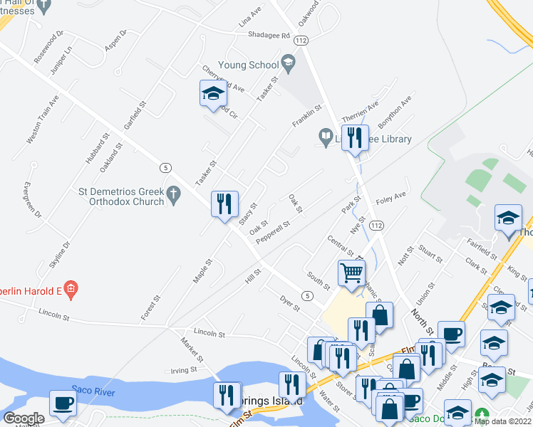 map of restaurants, bars, coffee shops, grocery stores, and more near 111 Bradley Street in Saco