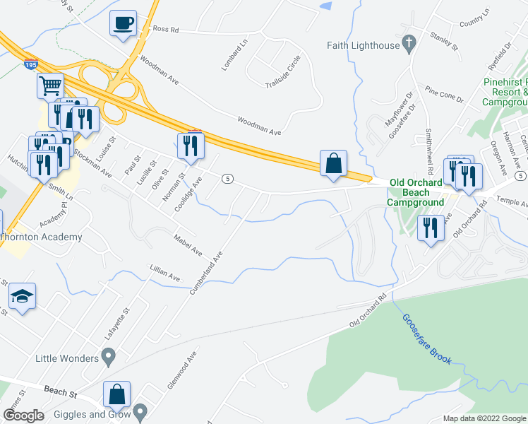 map of restaurants, bars, coffee shops, grocery stores, and more near 73 Ocean Park Road in Saco