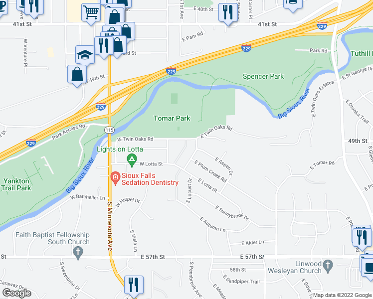 map of restaurants, bars, coffee shops, grocery stores, and more near 133 East Twin Oaks Place in Sioux Falls