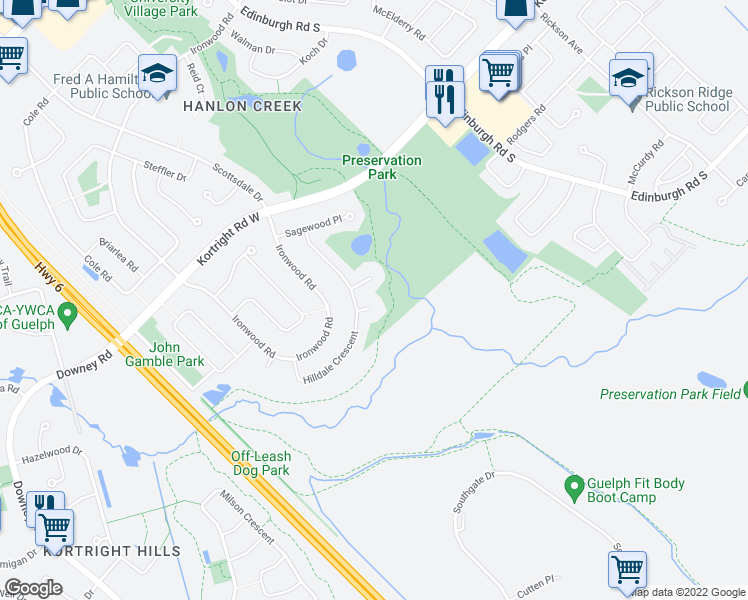 map of restaurants, bars, coffee shops, grocery stores, and more near 8 Hartwood Court in Guelph