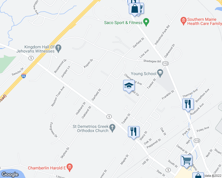 map of restaurants, bars, coffee shops, grocery stores, and more near 26 Miranda Circle in Saco