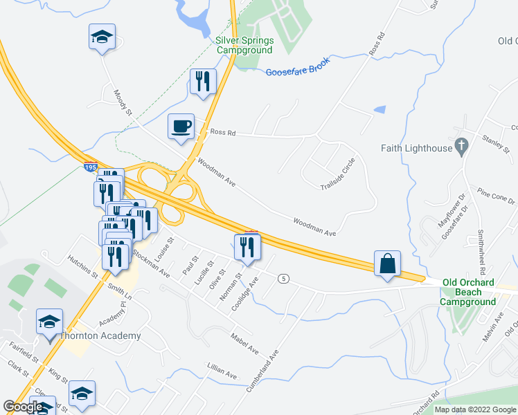 map of restaurants, bars, coffee shops, grocery stores, and more near 27 Woodman Avenue in Saco