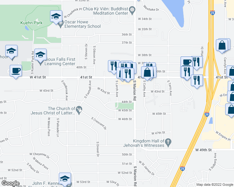 map of restaurants, bars, coffee shops, grocery stores, and more near 3525-3599 South Larch Avenue in Sioux Falls