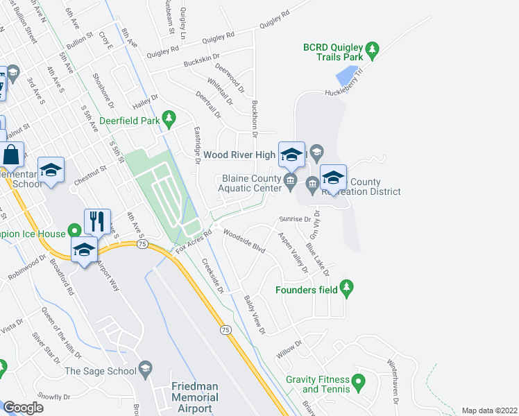 map of restaurants, bars, coffee shops, grocery stores, and more near 834-998 Fox Acres Road in Hailey