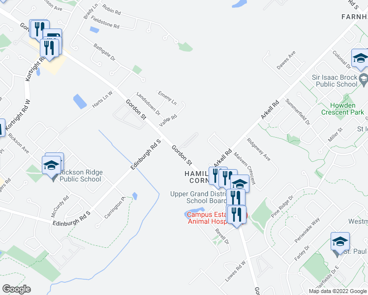 map of restaurants, bars, coffee shops, grocery stores, and more near 1300 Gordon Street in Guelph