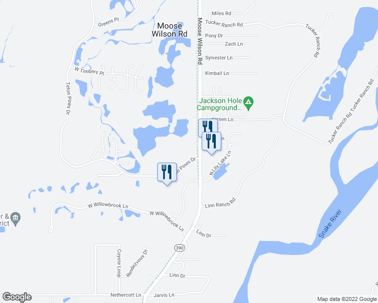 map of restaurants, bars, coffee shops, grocery stores, and more near 2530 Teton Pines Dr in Wilson