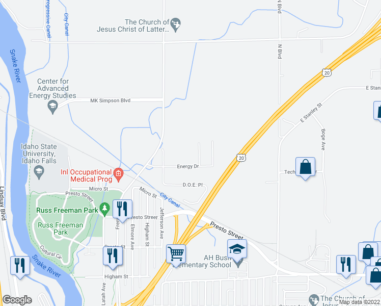 map of restaurants, bars, coffee shops, grocery stores, and more near 404 Energy Drive in Idaho Falls