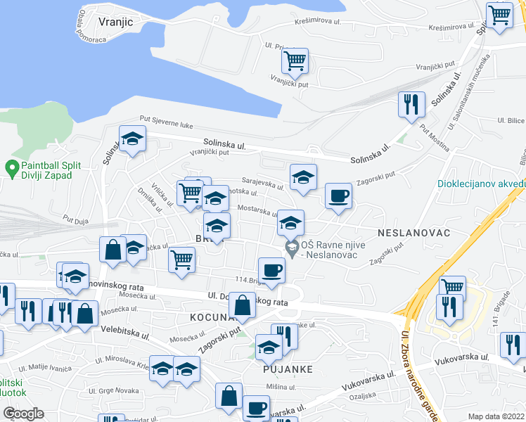 map of restaurants, bars, coffee shops, grocery stores, and more near Ulica Ivana Raosa in Split