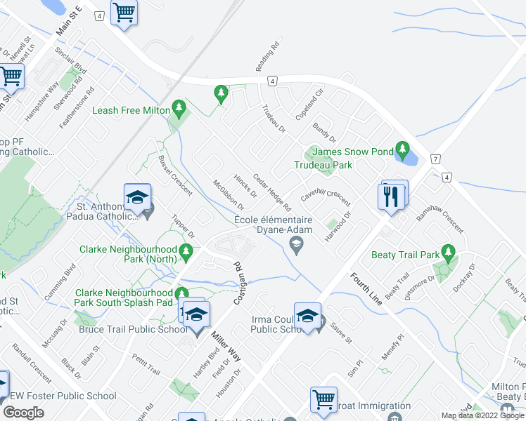 map of restaurants, bars, coffee shops, grocery stores, and more near 1457 Laurier Avenue in Milton