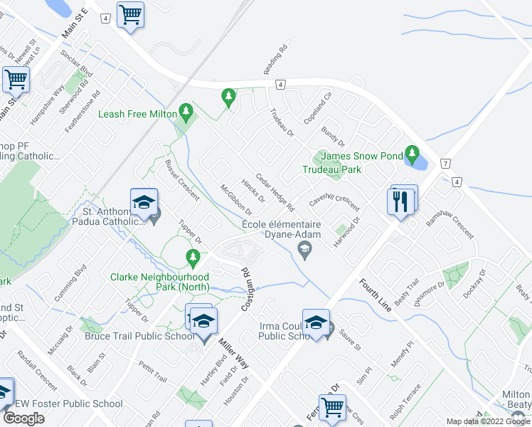 map of restaurants, bars, coffee shops, grocery stores, and more near 492 McGibbon Drive in Milton