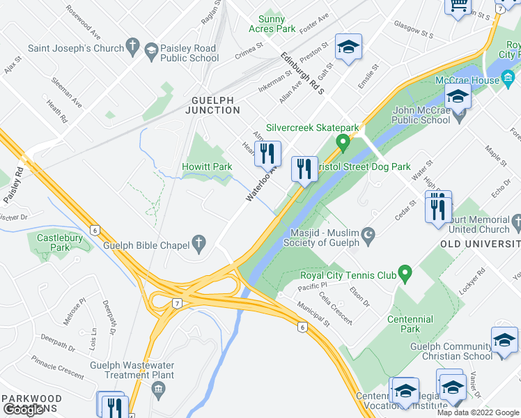 map of restaurants, bars, coffee shops, grocery stores, and more near 364 Waterloo Avenue in Guelph