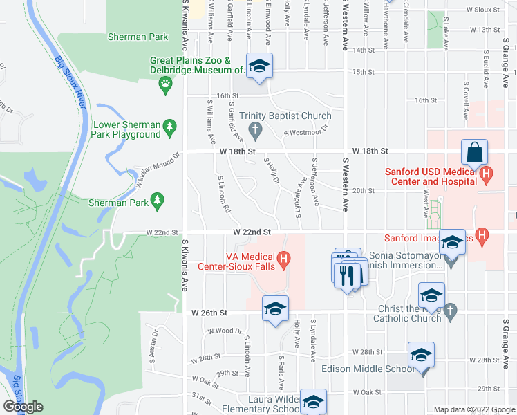 map of restaurants, bars, coffee shops, grocery stores, and more near Elmwood Pl in Sioux Falls