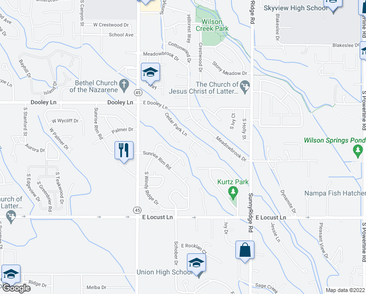 map of restaurants, bars, coffee shops, grocery stores, and more near 3346 Cedar Park Place in Nampa
