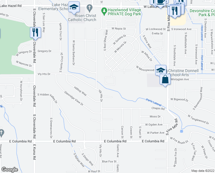 map of restaurants, bars, coffee shops, grocery stores, and more near 11357 West Orion Greens Street in Boise