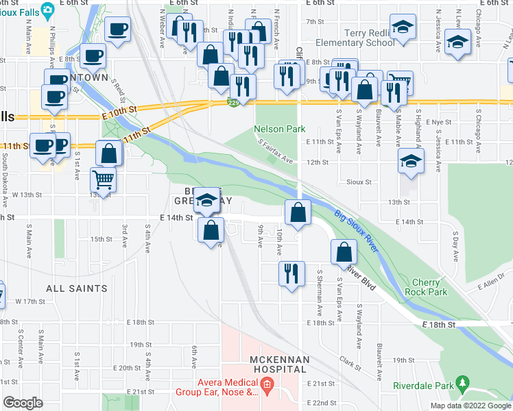 map of restaurants, bars, coffee shops, grocery stores, and more near 900 East 14th Street in Sioux Falls