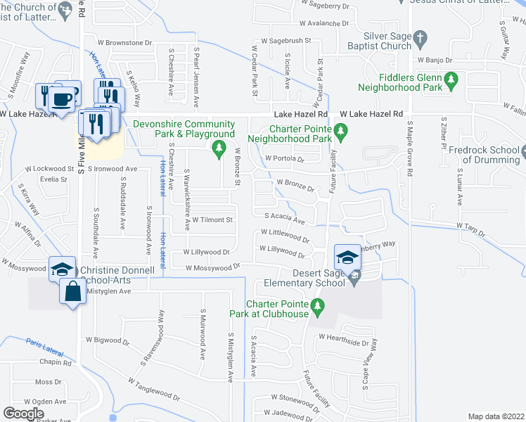 map of restaurants, bars, coffee shops, grocery stores, and more near 9728 West Rustica Drive in Boise