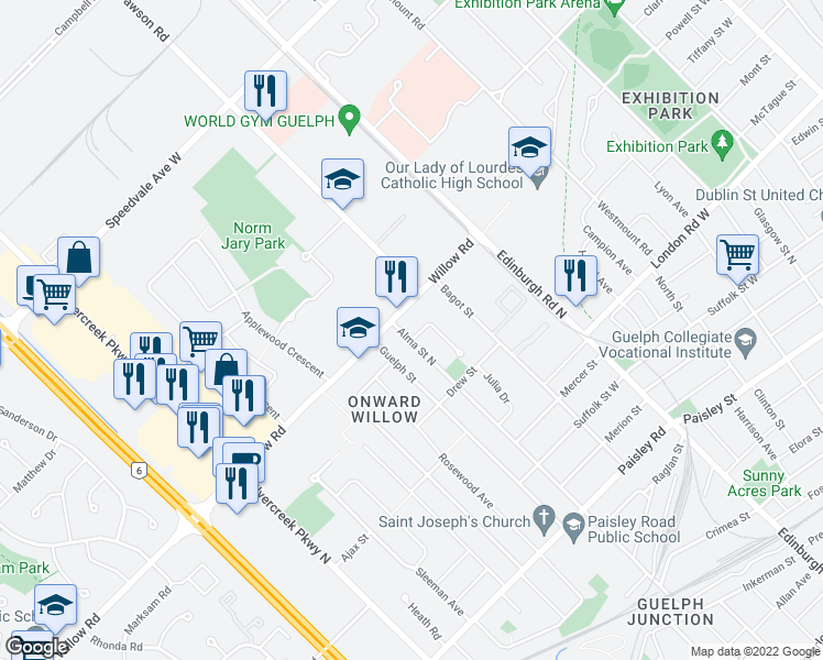 map of restaurants, bars, coffee shops, grocery stores, and more near 6 Plymouth Court in Guelph