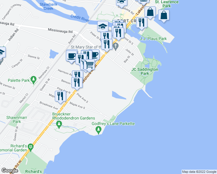 map of restaurants, bars, coffee shops, grocery stores, and more near 70 Mississauga Road South in Mississauga