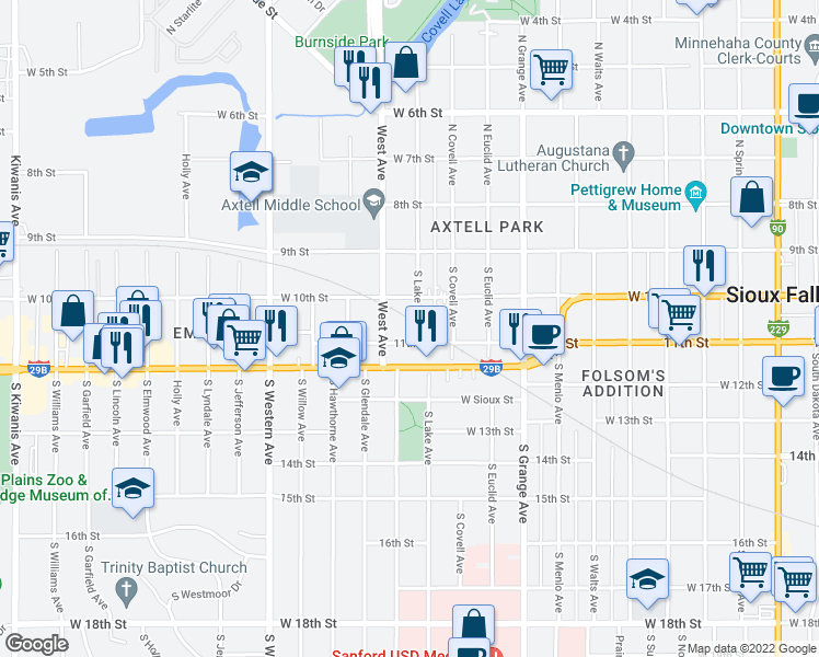 map of restaurants, bars, coffee shops, grocery stores, and more near 209 South Lake Avenue in Sioux Falls