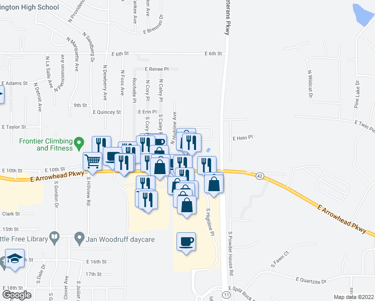 map of restaurants, bars, coffee shops, grocery stores, and more near 7900 Arrowhead Parkway in Sioux Falls