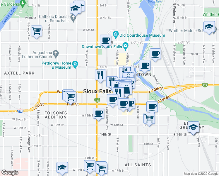 map of restaurants, bars, coffee shops, grocery stores, and more near 132 South Dakota Avenue in Sioux Falls