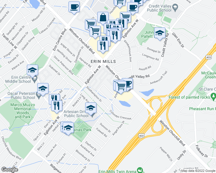 map of restaurants, bars, coffee shops, grocery stores, and more near 4821 Half Moon Grove in Mississauga