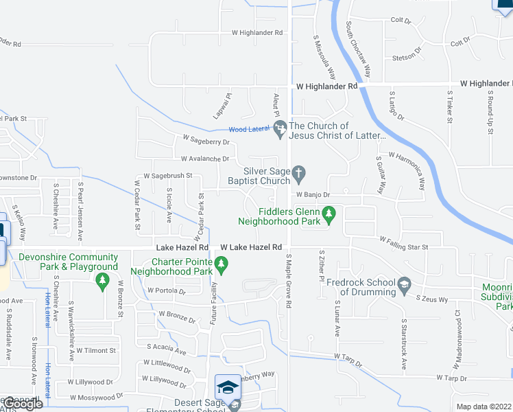 map of restaurants, bars, coffee shops, grocery stores, and more near 9160 West Stirrup Drive in Boise