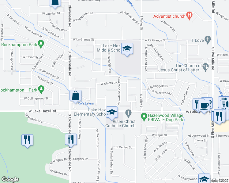 map of restaurants, bars, coffee shops, grocery stores, and more near 11715 W Kings Canyon St in Boise