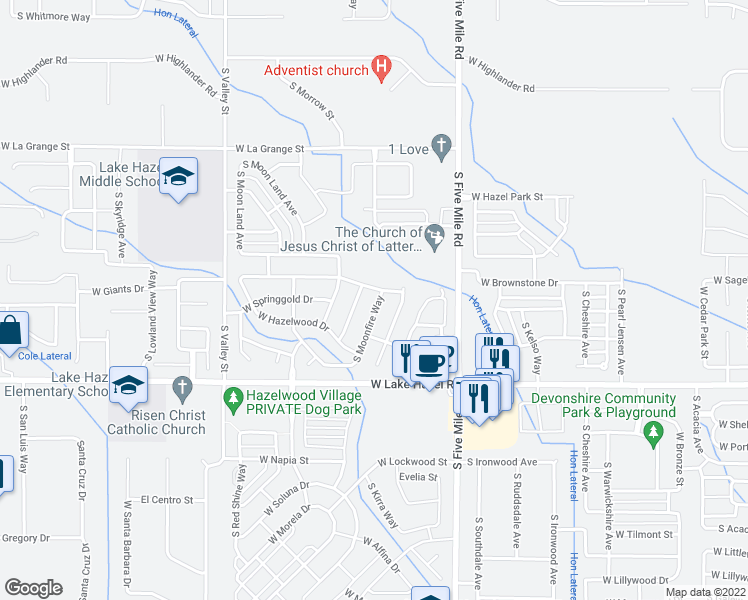 map of restaurants, bars, coffee shops, grocery stores, and more near 5943 South Rising Sun Way in Boise