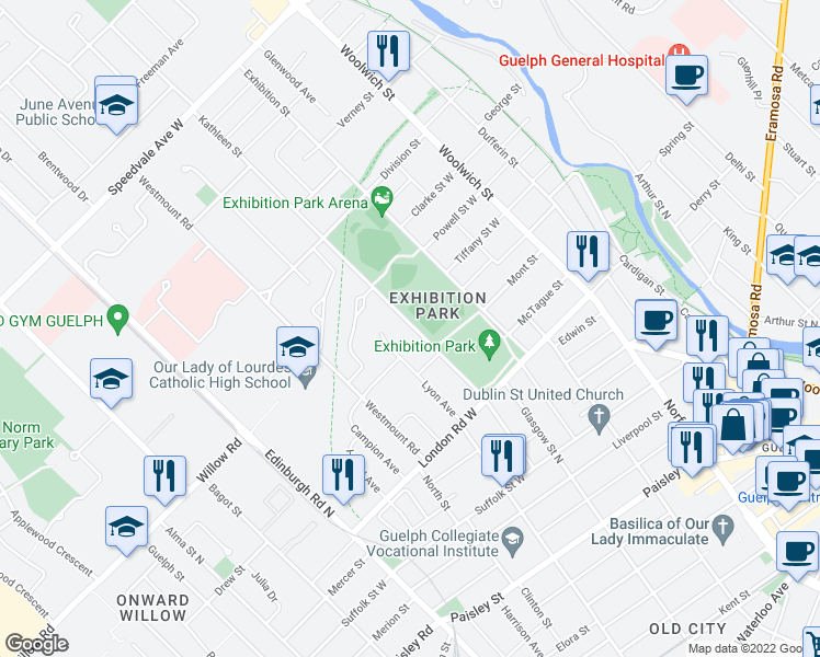 map of restaurants, bars, coffee shops, grocery stores, and more near 96 Kathleen Street in Guelph