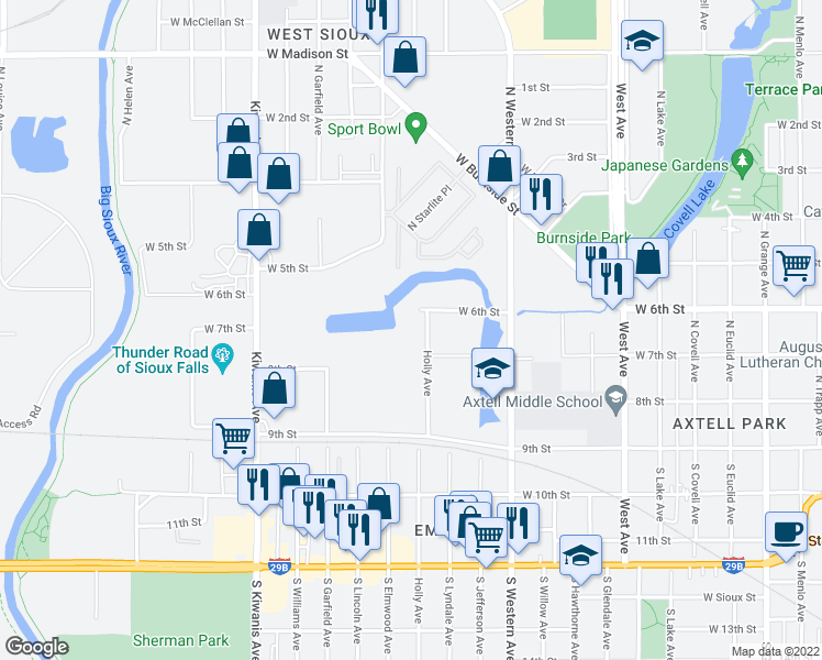 map of restaurants, bars, coffee shops, grocery stores, and more near 2201 West 6th Street in Sioux Falls
