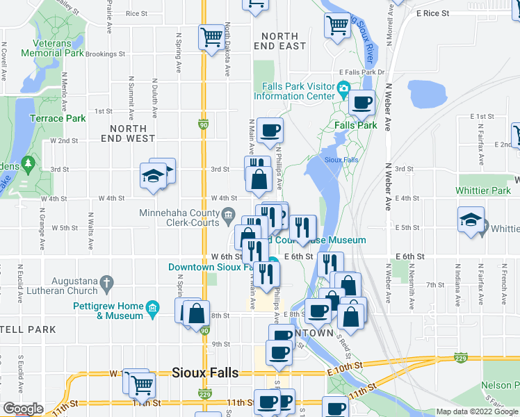 map of restaurants, bars, coffee shops, grocery stores, and more near 522 North Main Avenue in Sioux Falls