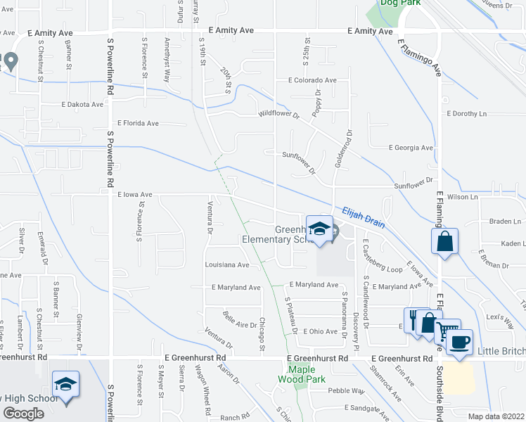 map of restaurants, bars, coffee shops, grocery stores, and more near 2213 East Iowa Avenue in Nampa