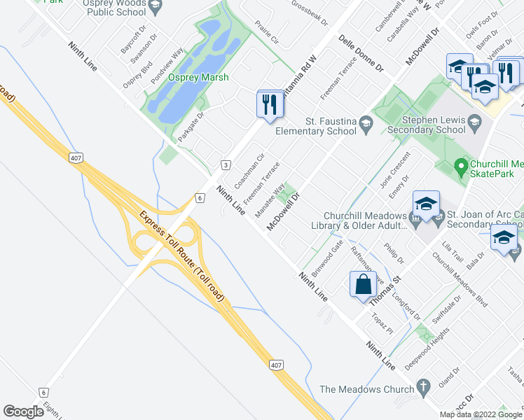 map of restaurants, bars, coffee shops, grocery stores, and more near 3968 Manatee Way in Mississauga