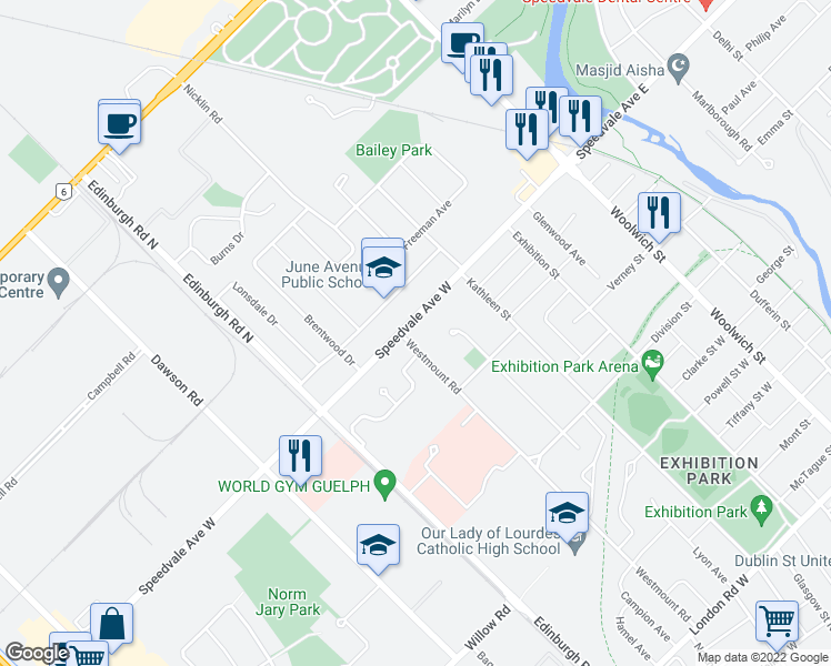 map of restaurants, bars, coffee shops, grocery stores, and more near 151 Westmount Road in Guelph