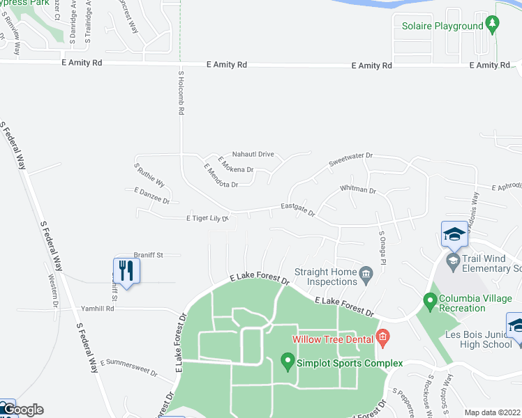 map of restaurants, bars, coffee shops, grocery stores, and more near 2859-2899 Eastgate Drive in Boise