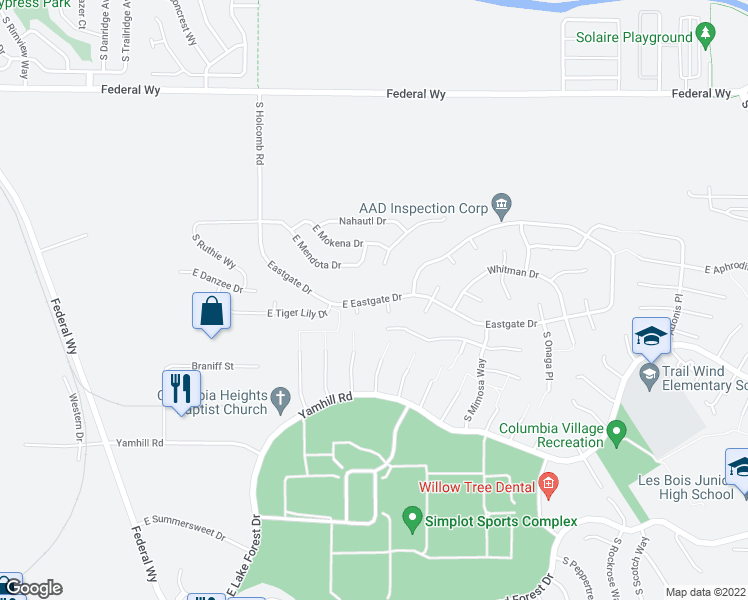 map of restaurants, bars, coffee shops, grocery stores, and more near 2935-2969 Eastgate Drive in Boise