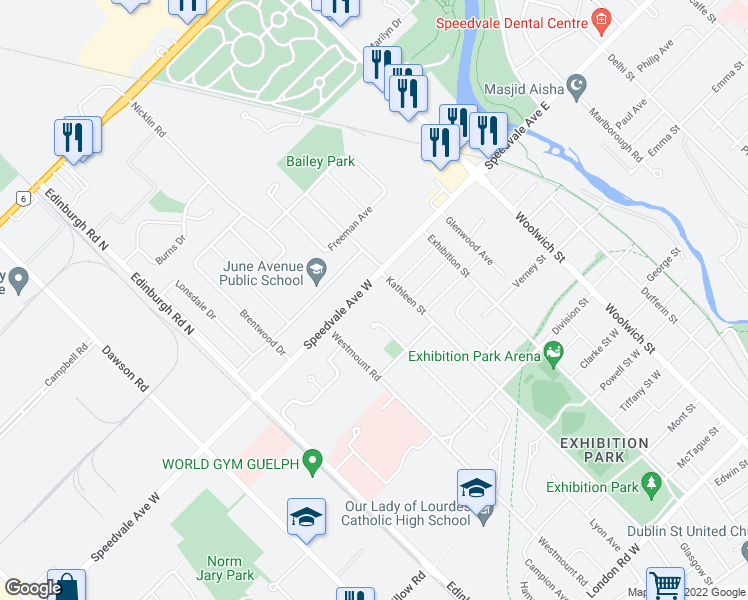 map of restaurants, bars, coffee shops, grocery stores, and more near 80 Speedvale Avenue West in Guelph